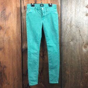 Hudson Nico Super Skinny Ankle Jeans Green Sz 25